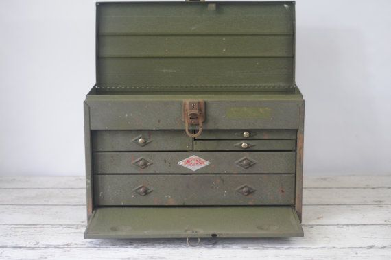 Vintage Sk Tools Machinist Toolbox Metal 5 Drawer Tool Chest Kennedy Craftsman Sk Tools Tool Box Tool Chest