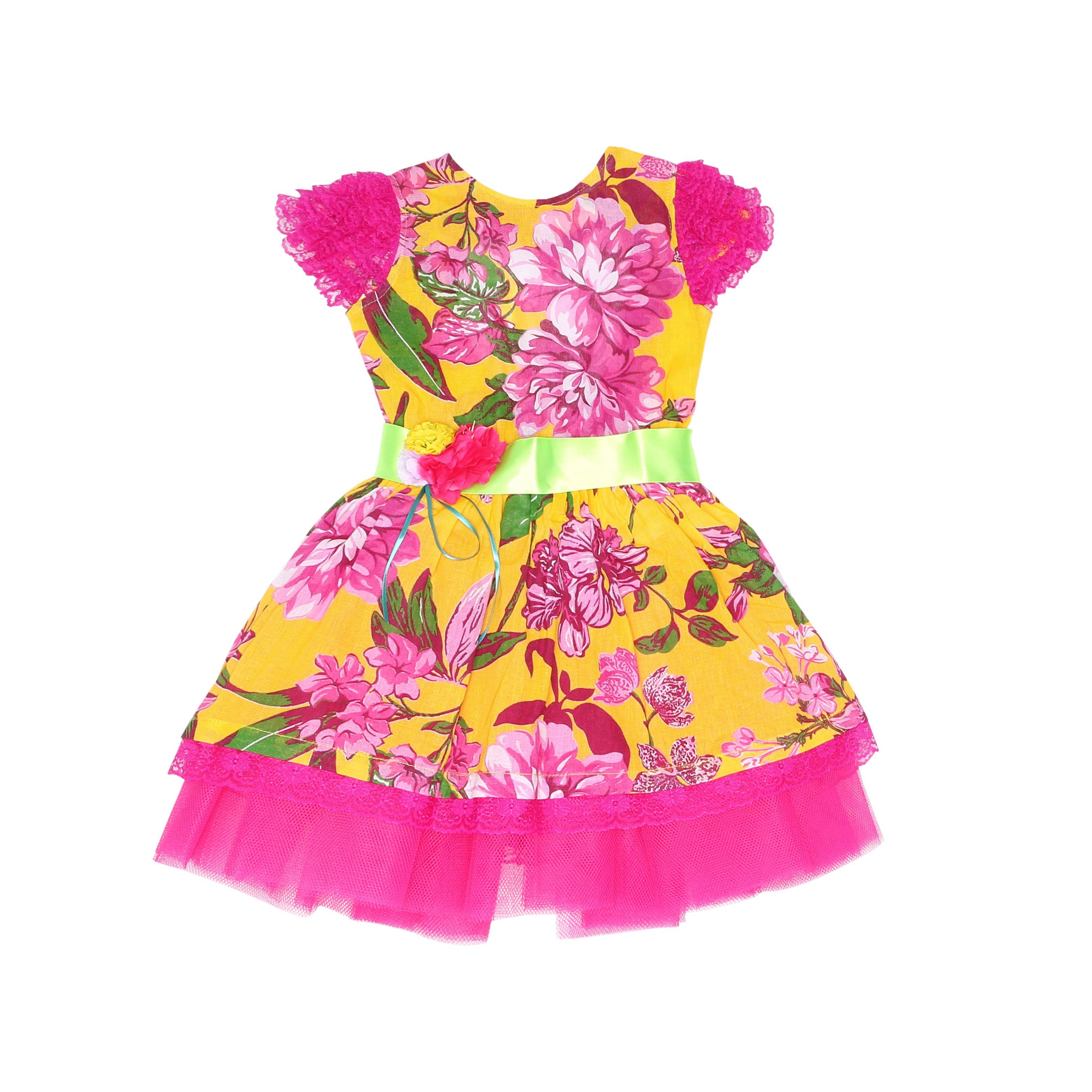 e1aa094f8 Vestido tecido chita fundo amarelo e estampa em flores grandes pink 100%  algodão. Saia