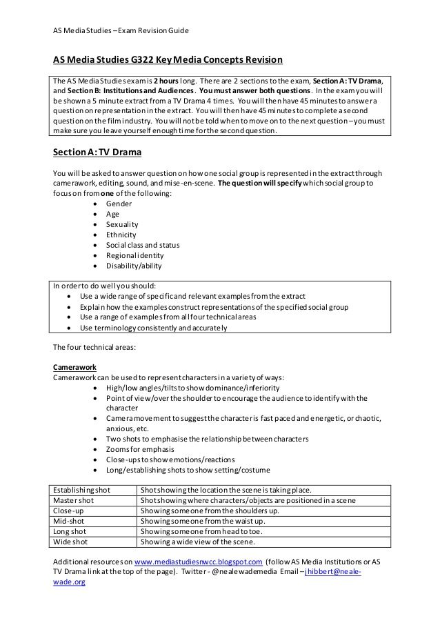 AS MediaStudies \u2013Exam RevisionGuide Additional resourceson www