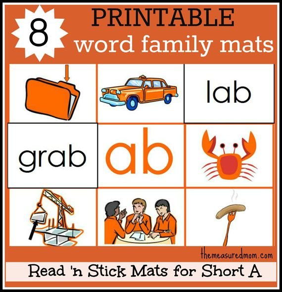8 Short A Word Family Mats Printable The Measured Mom Word Families Word Families Printables Phonics Activities