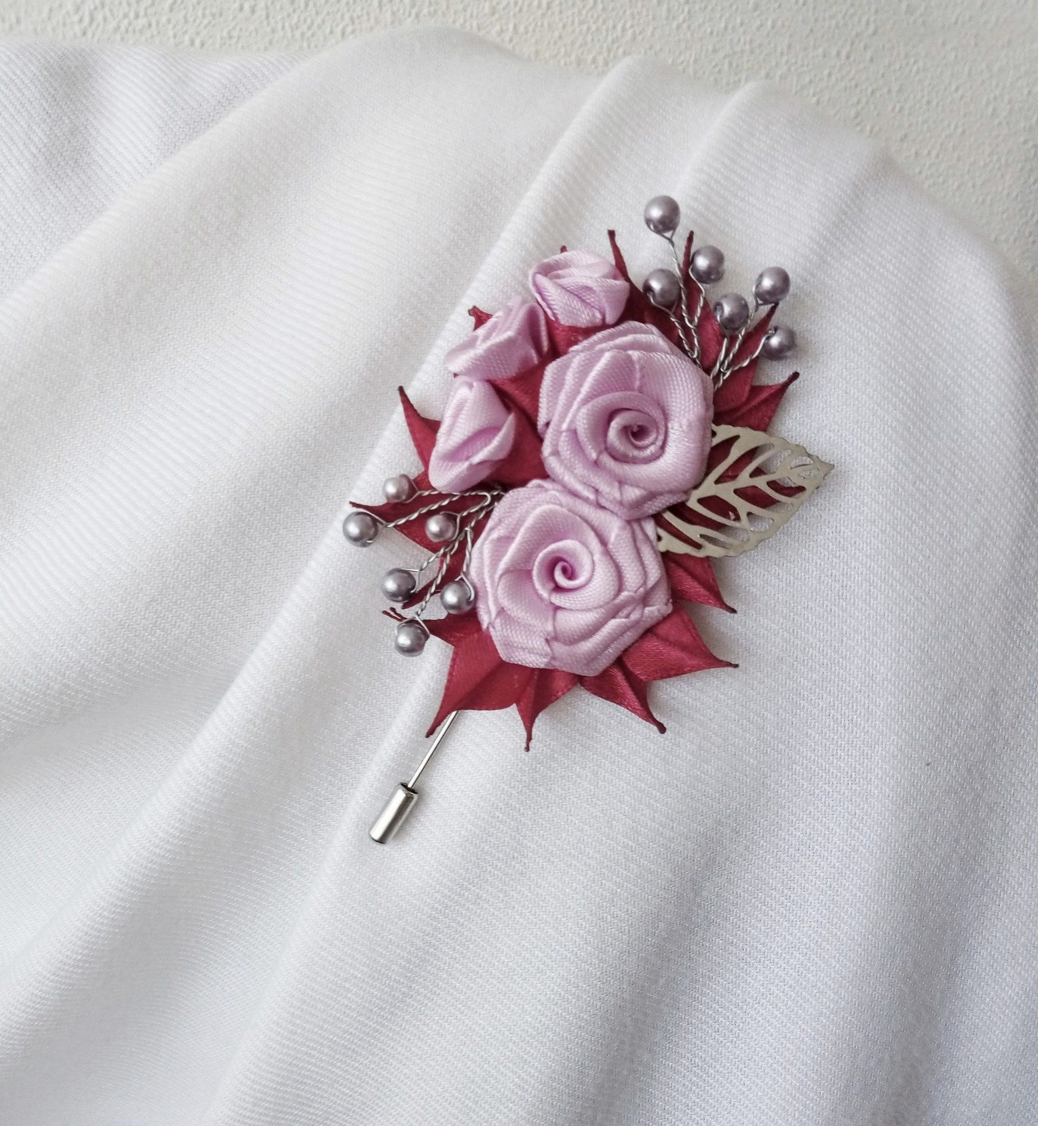 Pink Lilac Fabric Flowers Pin Brooch Pin Of Pink Lilac Color With Pearl Beads Fabric Flower Pin Brooch Flower Pin For Dress