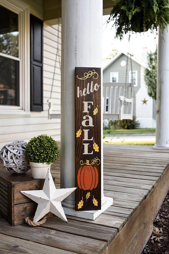 Hello Fall Porch Sign I Fall Sign I Fall Decor I Porch Sign I Autumn I Autumn Sign I Pumpkins I Pumpkin Porch Sign I Fall Porch Sign Fall Decorations Porch