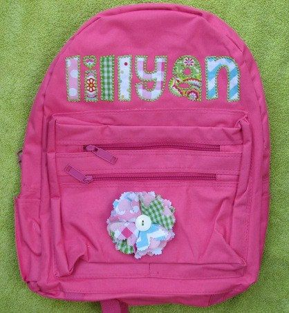 Personalized Applique Backpack by Pigtails & Puddle Jumpers on Etsy, $35.00 this is my friend's shop-check her out!