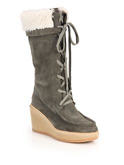 049c761050a See by Chloé - Shearling-Trimmed Suede Lace-Up Wedge Knee Boots ...