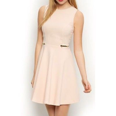 Womens ladies girls new look holiday/party #summer nude zip #skater #dress uk8-14,  View more on the LINK: 	http://www.zeppy.io/product/gb/2/222101968140/