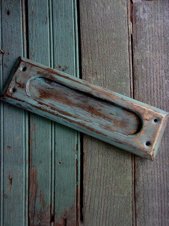 Vintage Brass Mail Slot * SouthWest Style Door Slot * Rustic Teal Painted  Patina Brass *