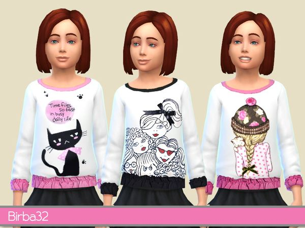 The Sims Resource Pullover for girls by Birba32 • Sims 4