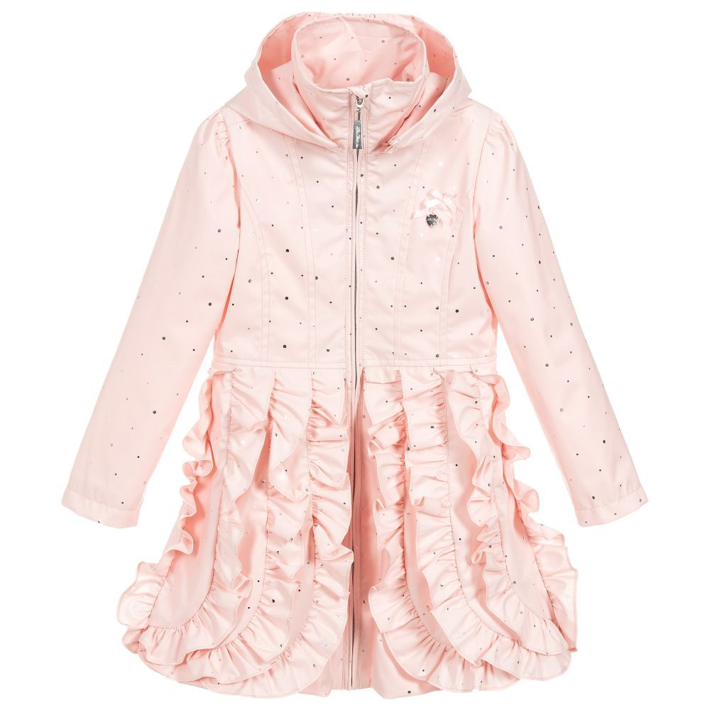 c788bfc99 Girls pink lightweight coat by Le Chic with silver dot print and ...