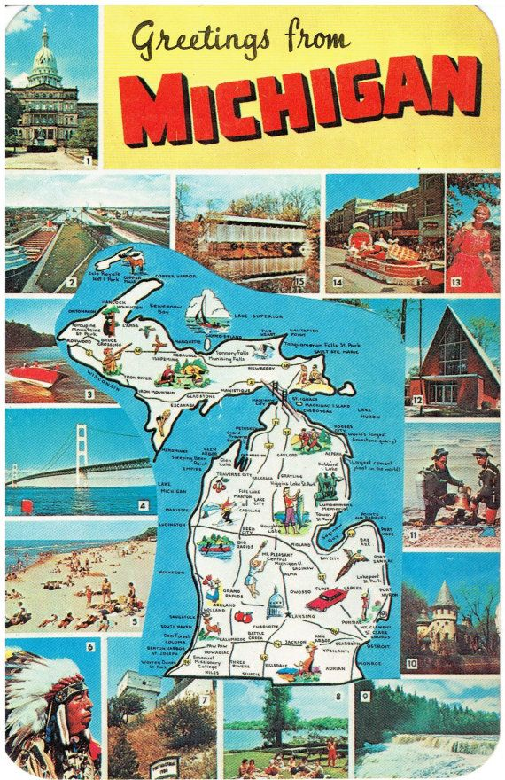 Greetings from michigan state map vintage by heritagepostcards greetings from michigan state map vintage by heritagepostcards m4hsunfo