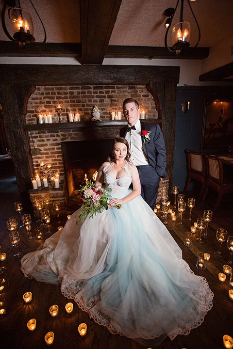 Orange County Beauty And The Beast Wedding At Five Crowns Bride Light Blue Ball Gown With Crystal Beading Straps Sweetheart Neckline Groom