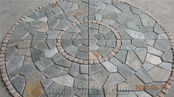 Natural Paving Stone Pattern Mosaic Patio Gardening Pinterest
