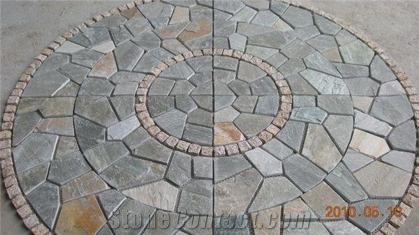 Cobble Stone Mosaics : Natural paving stone pattern mosaic patio gardening