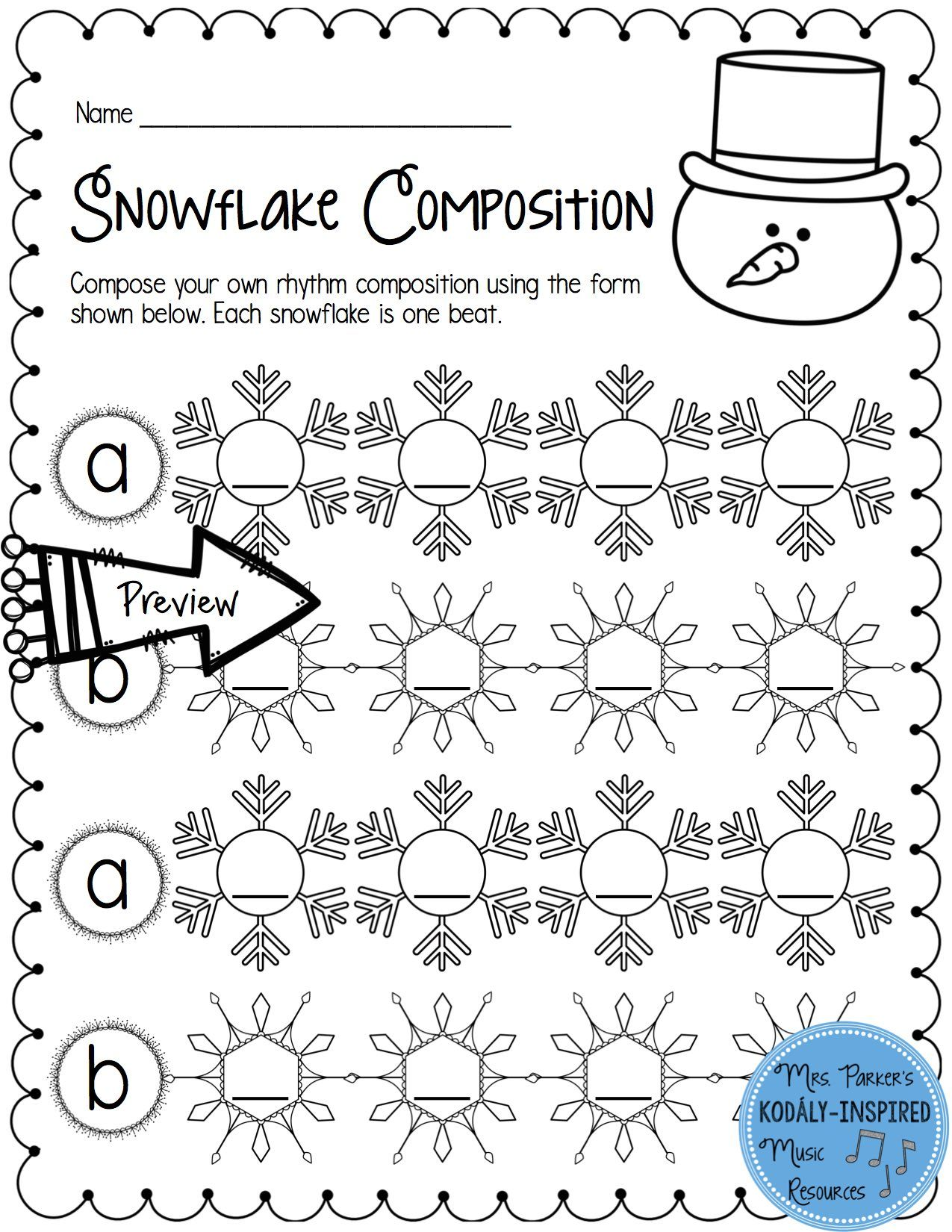 small resolution of Students can compose their own rhythm to the form (a b a b). So much fun in  the winter!   Elementary music