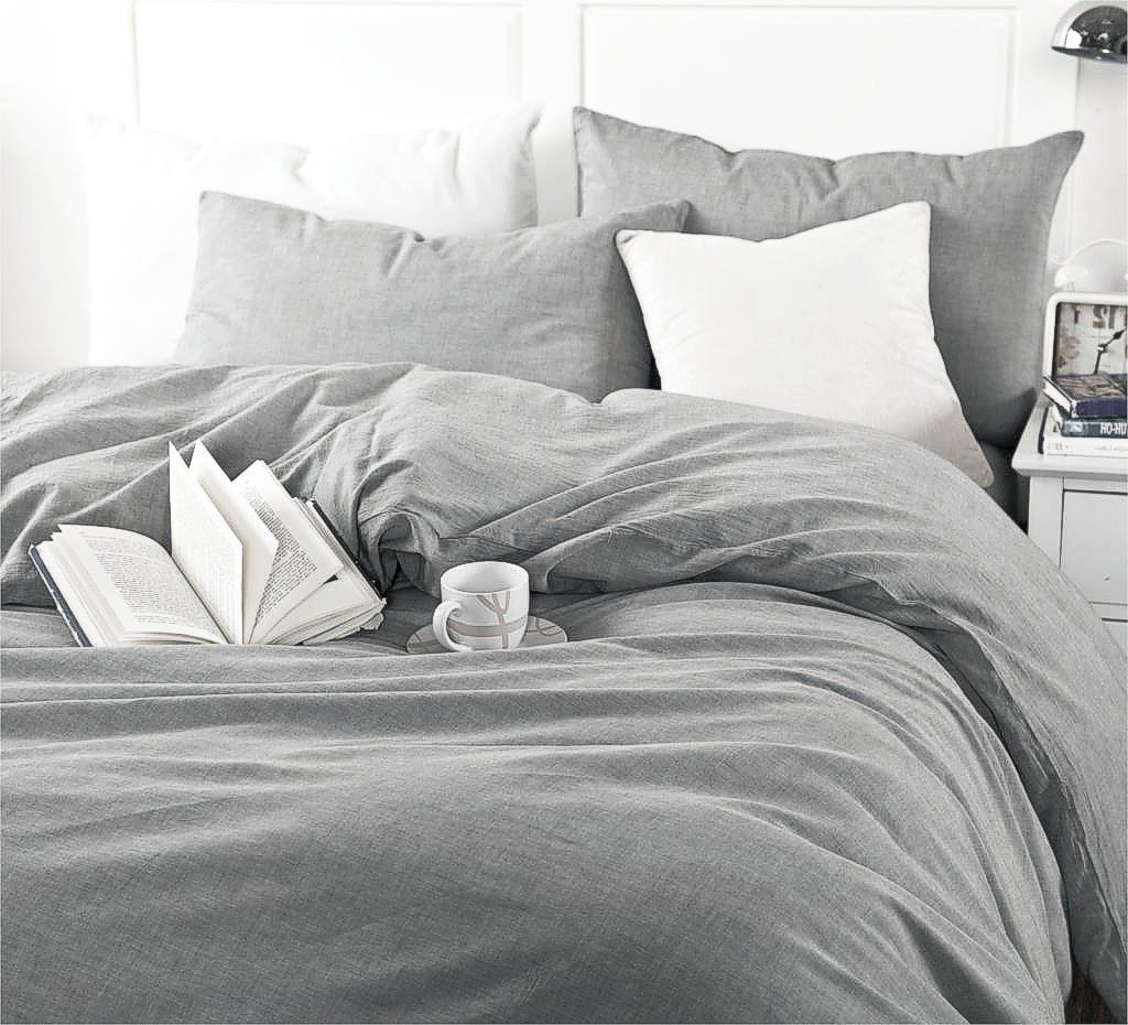 Amazon.com: Washed Cotton Chambray Duvet Cover Solid Color ...