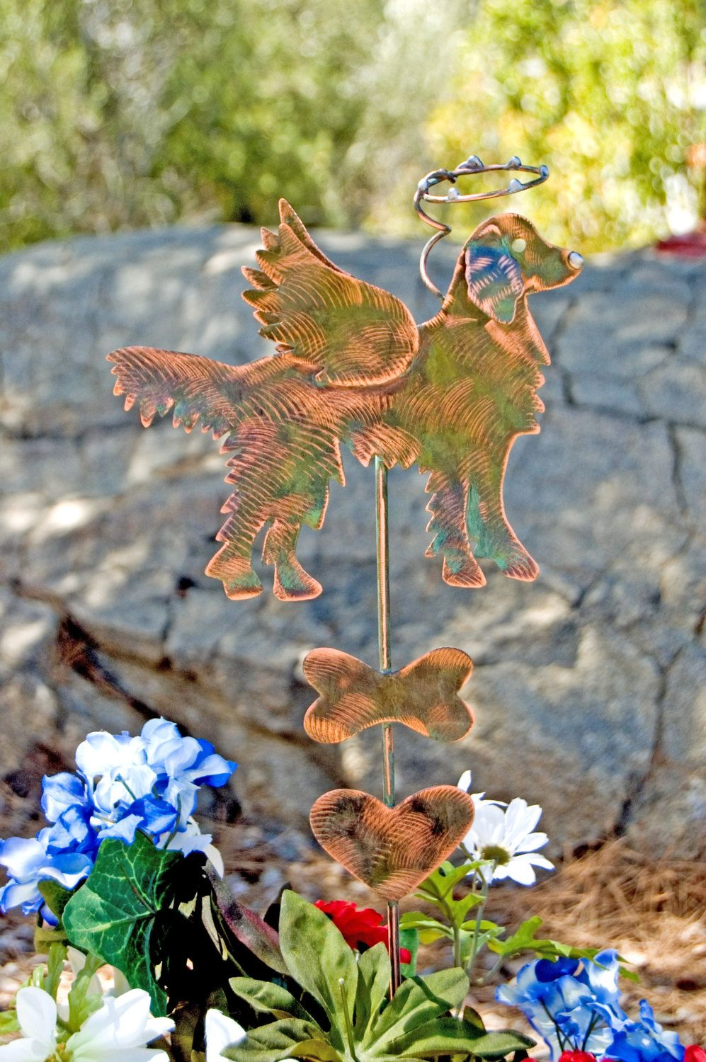 Golden Retriever Dog Pet Memorial Garden Stake / Metal Garden Art / Copper  Artu2026