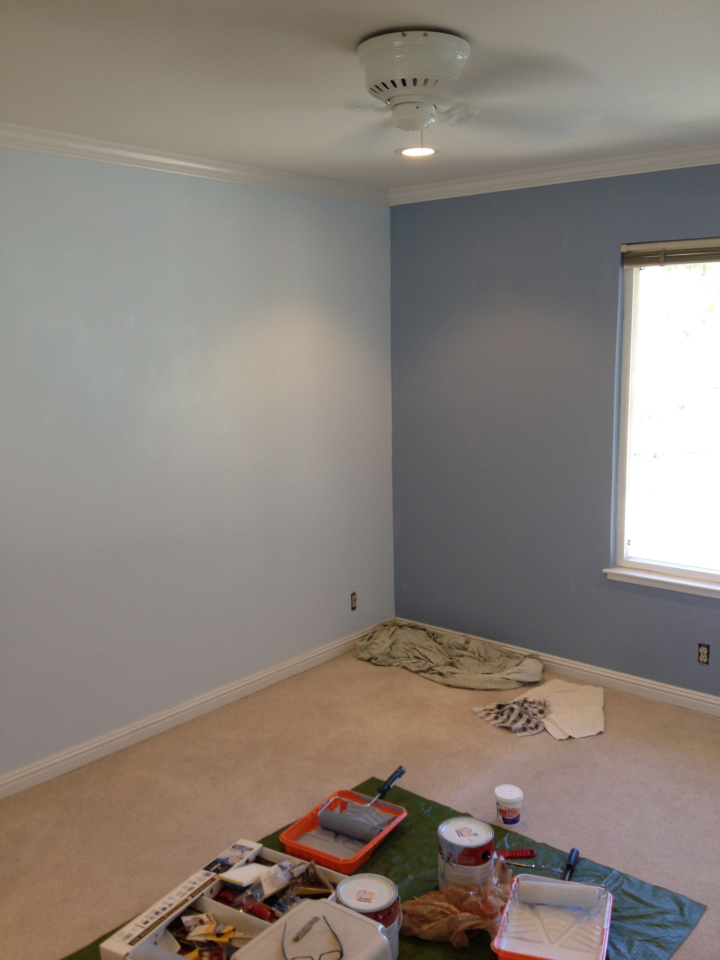 Room Painted Using Behr Russian Blue Window Wall And Wave Crest Turned Out Lovely