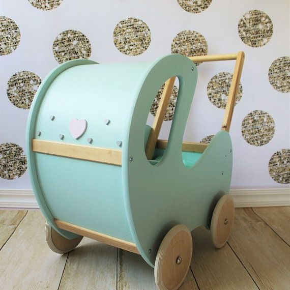 Wooden Doll Prams Handmade, Painted with water-based paint with EN 71-3 certificate (safe for kids). We can make any colour you like!  for more info go to www.turkusowapracownia.com