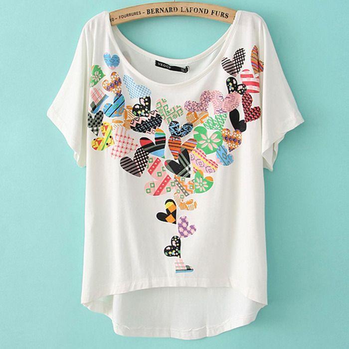15b16b6ce Blusa com aplicações de tecido. | Clothing Makeovers | Printed ...