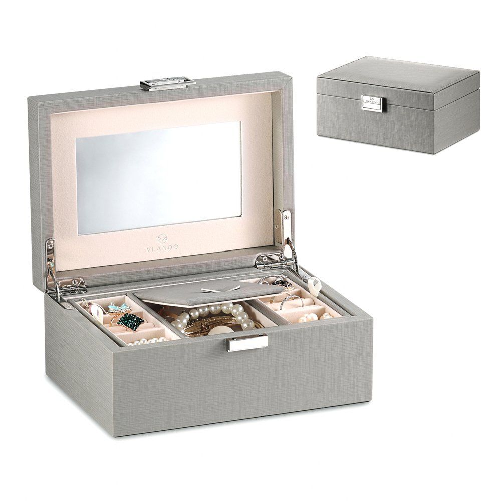 Vlando Modern Jewelry Box Organizer w Large Mirror 2 Trays for
