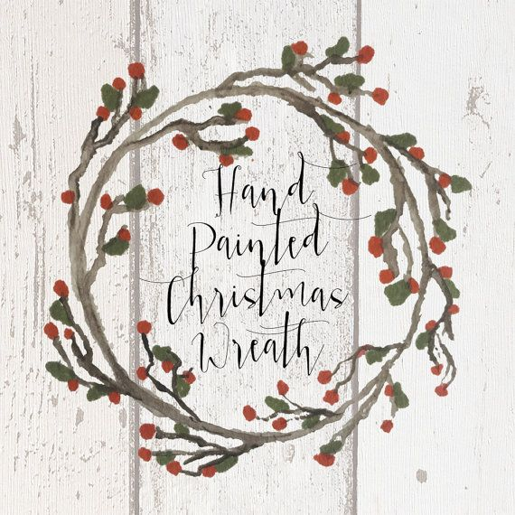 Christmas wreath rustic. Hand painted clipart holly