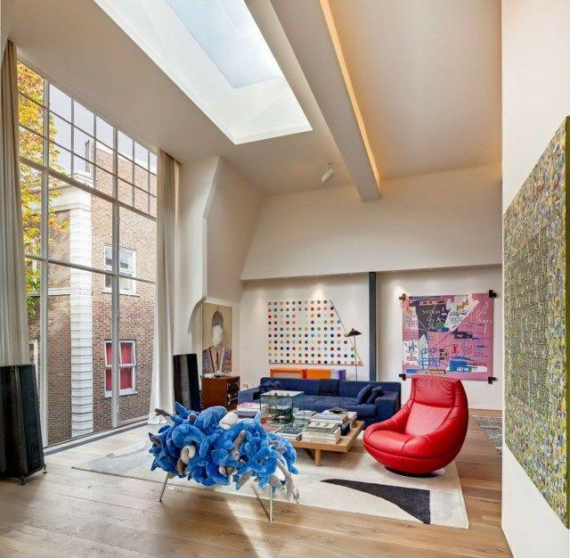 Haus Umbau modernes Projekt Boden Decke hohe Fenster Wohnzimmer ...