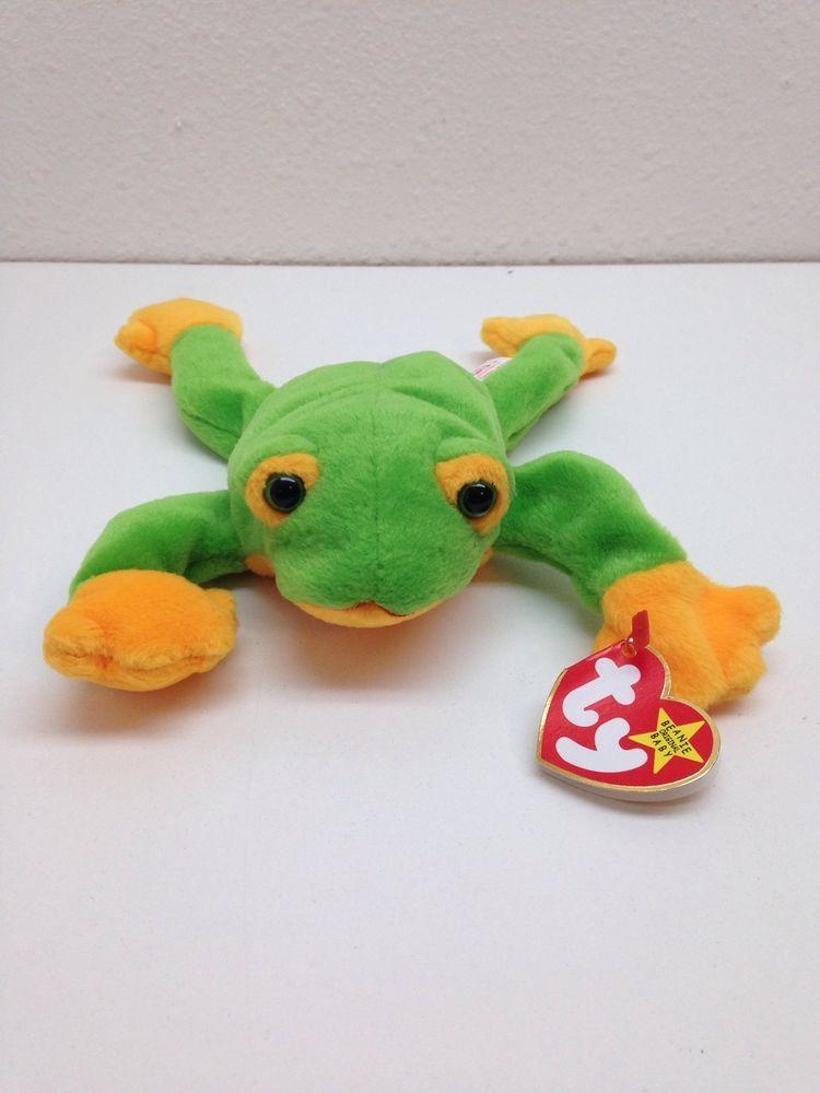 187ecf8f119 TY Beanie Babies Smoochy The Frog (10-1-1997)-Rare-Retired-P.E. Pellets- Error  Ty
