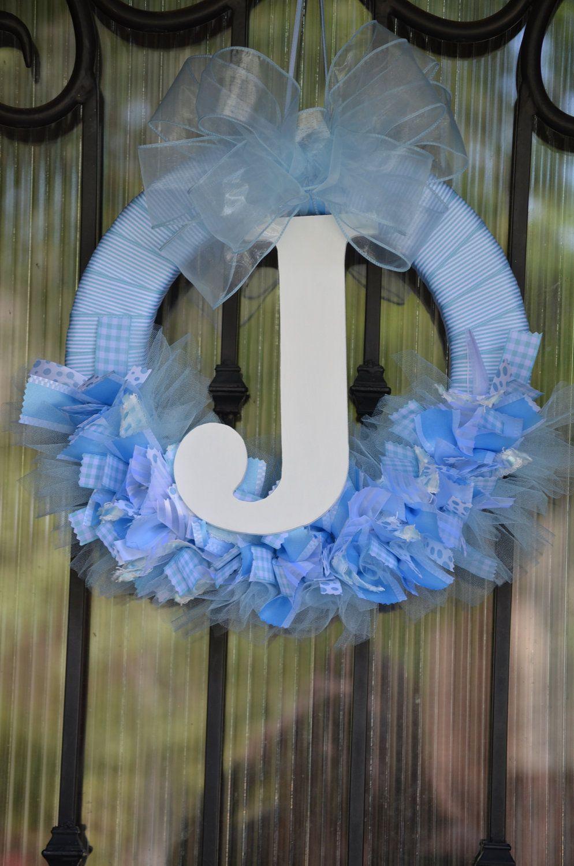 Photo of Items similar to Baby Boy Ribbon Wreath, Nursery, Hospital Door, Baby Shower on Etsy