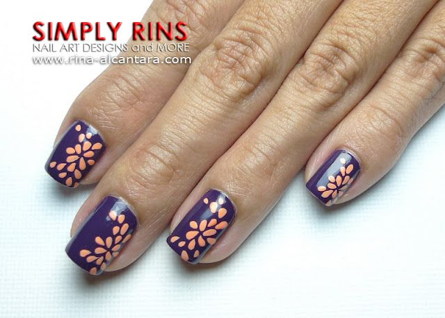 abstract flower nail art