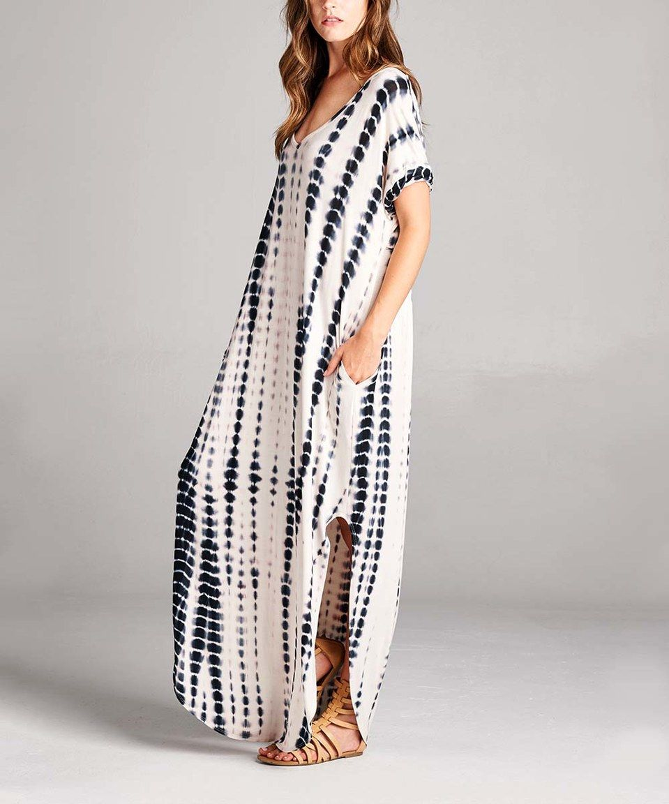 Look what i found on zulily black tiedye side slit maxi dress by
