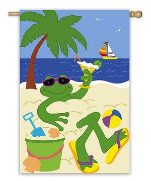 Green U0026 Blue Frog Beach Garden Flag