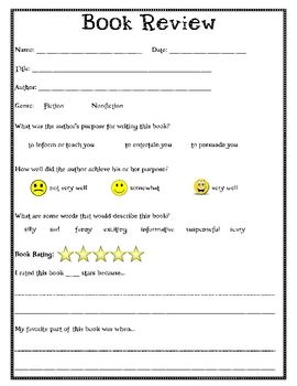 Three Reading Response Forms For Students Includes A Book Review