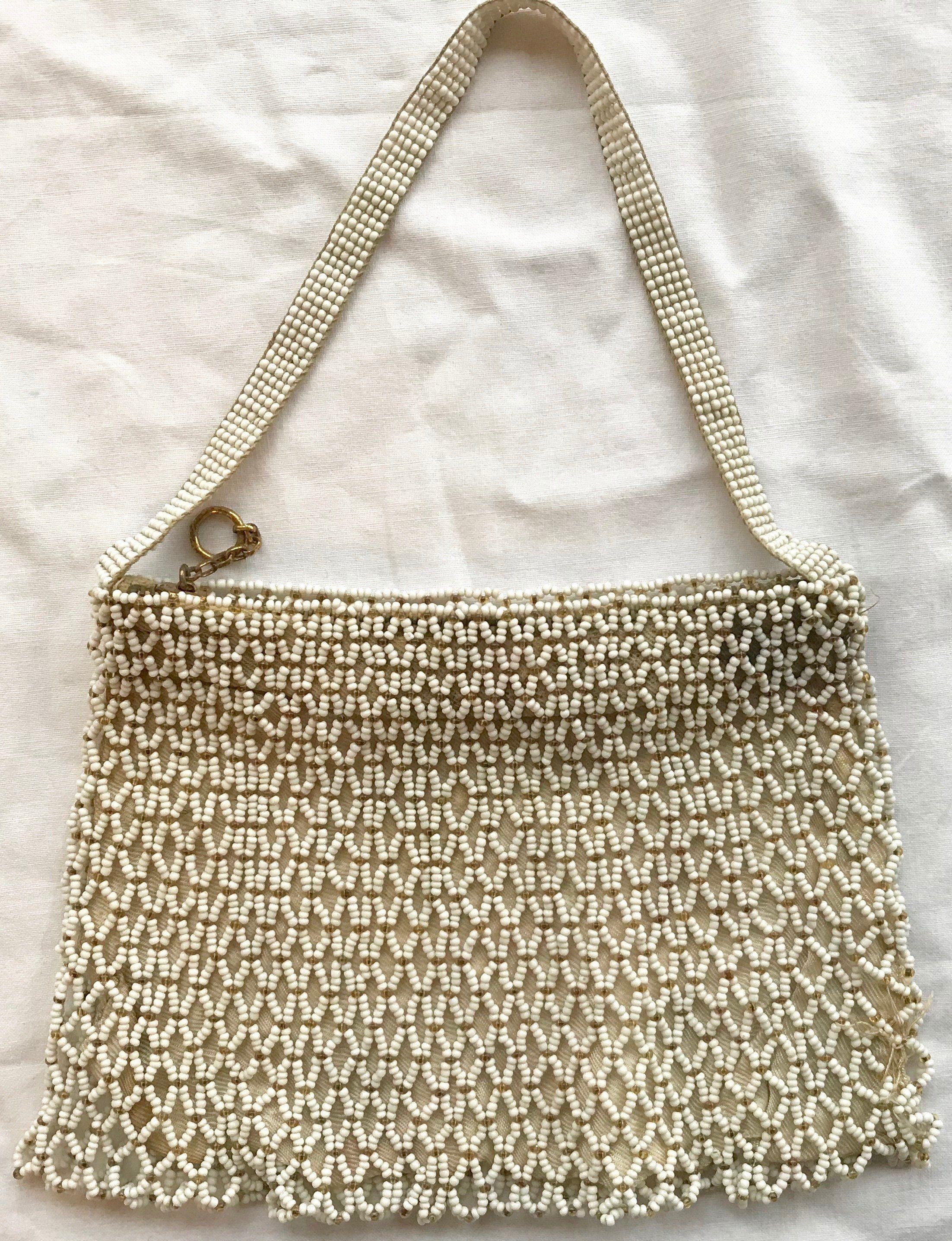 Vintage 1920s 1930s 1940s White Beaded Handbag Evening Bag Purse by  SweetLittleVillage on Etsy d6c6a87bd0563