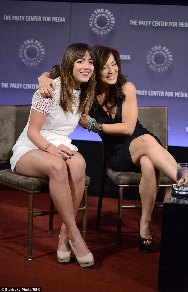 Bonding: Wen wrapped an arm around her Agents of S.H.I.E.L.D. co-star Chloe  Bennet