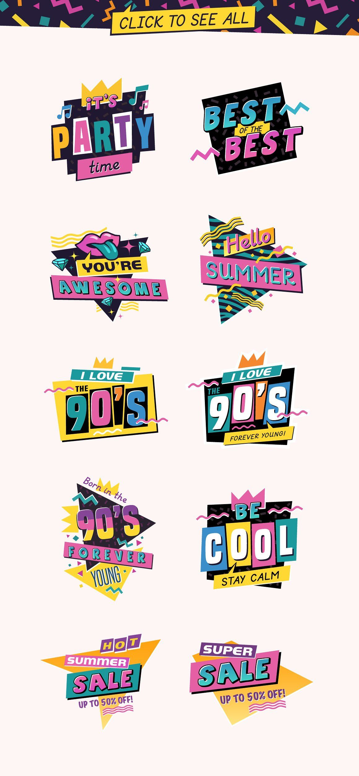The 90 S Vector Graphic Set 90s Graphic Design 90s Design Logo Design