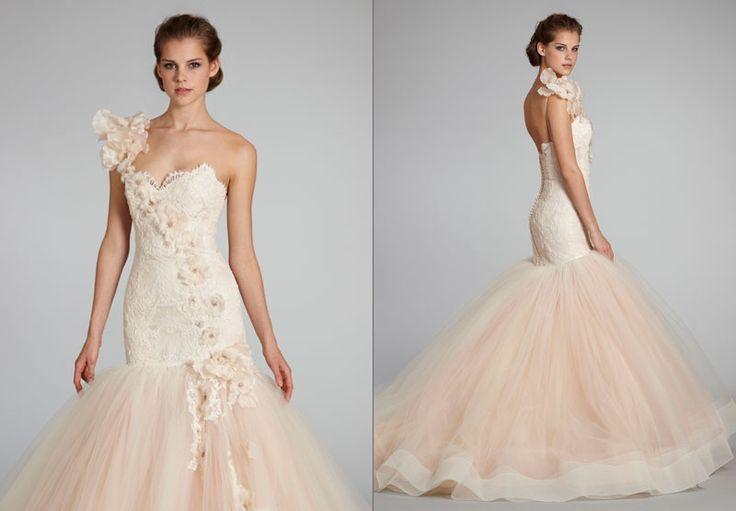 Sheath Wedding Dress : Dramatic Long Blush Lazaro Textured Lace And Tulle  Mermaid Trumpet Wedding Dress