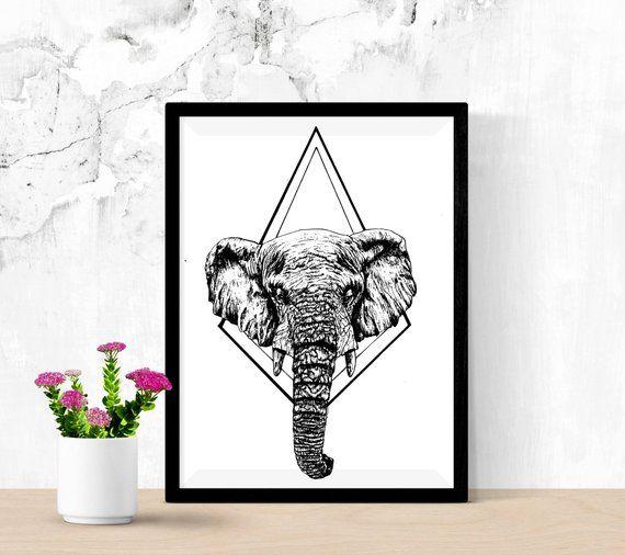 Minimalist Elephant Drawing: Elephant Black And White Minimalist Poster, #art #print