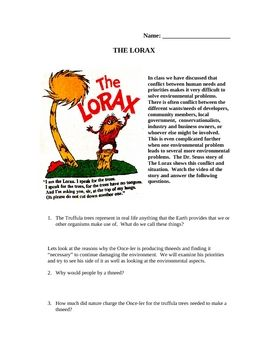 The Lorax Environmental Activity: This is an activity that high school science students really like - because they get to watch Dr. Seuss!  While it is designed as an environmental ...