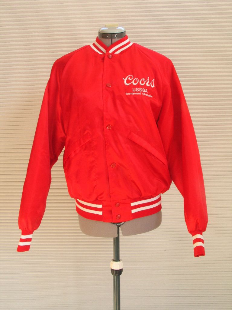 Red Satin Bomber Style Coors USSSA Jacket Slow Pitch baseball ...