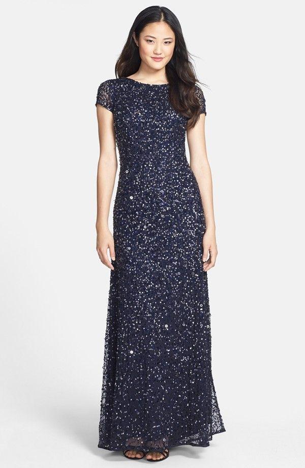 Navy Blue Beaded Dress for a Wedding