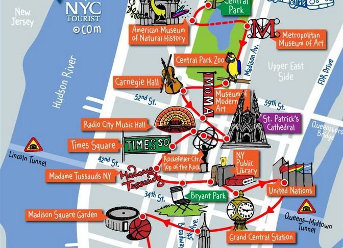 Download fantastic new york city travel maps from for Main attractions in new york city