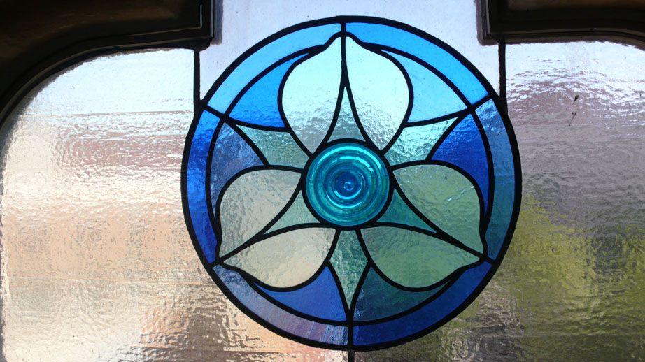 Hospital de Sant Pau - blue flower in stained glass - Barcelona