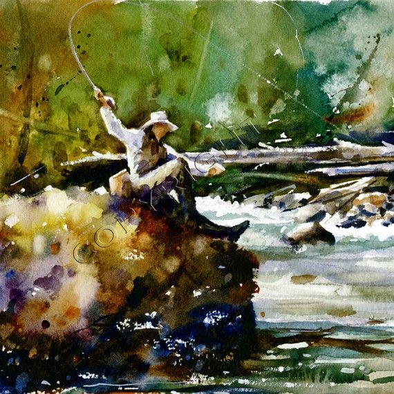 Trout Fishing Watercolor Print From Original Painting By Dean