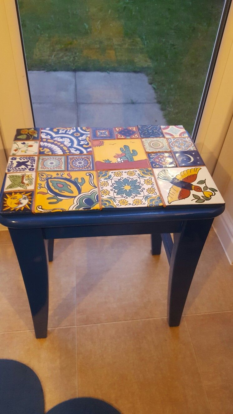 Upcycling White Ikea Dressing Table Stool Into A Colourful Side Table