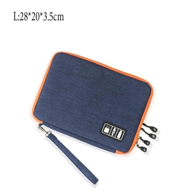 Double Layer Storage Bag Gadget Organizer Digital  Pouch - L-dark blue / France