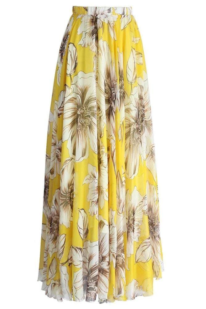 ee1c6bf19d8 Jupe Longue Mousseline Chic Jaune Imprimee Fleur Floraison