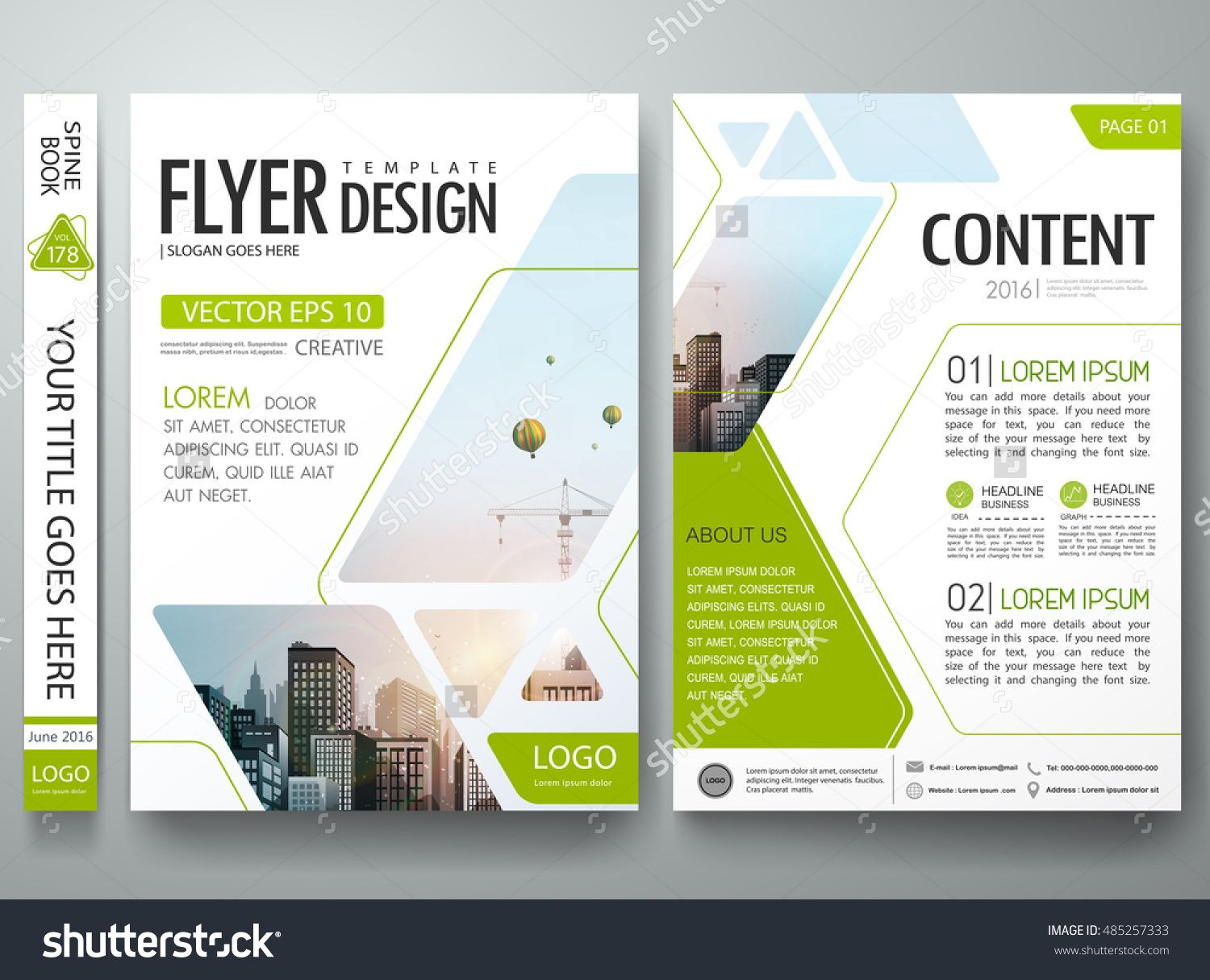 Brochure design template vector green abstract square for Book report brochure template