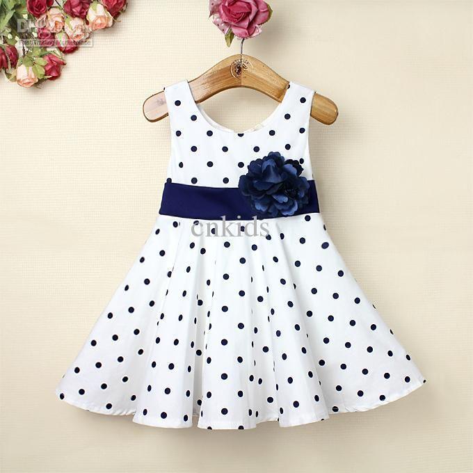 Wholesale Baby Girl Dress Dark Blue Polka Dots White