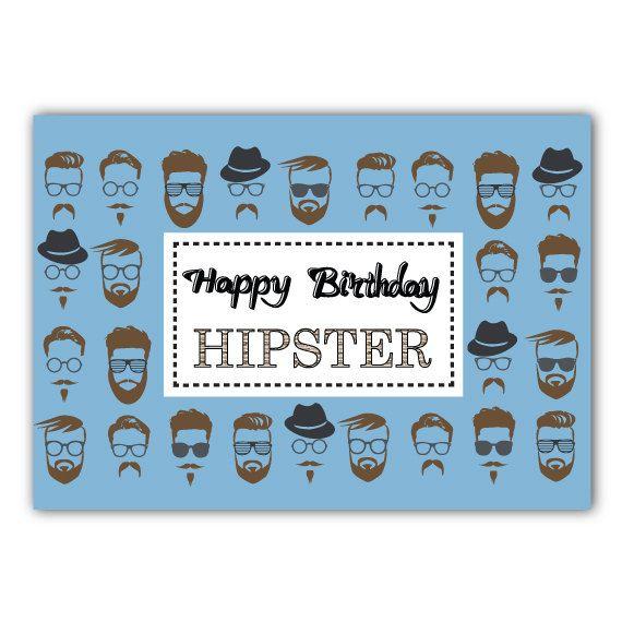 Happy Hipster Birthday Card Postcard Etsy Birthday Cards Hipster Birthday Happy Birthday