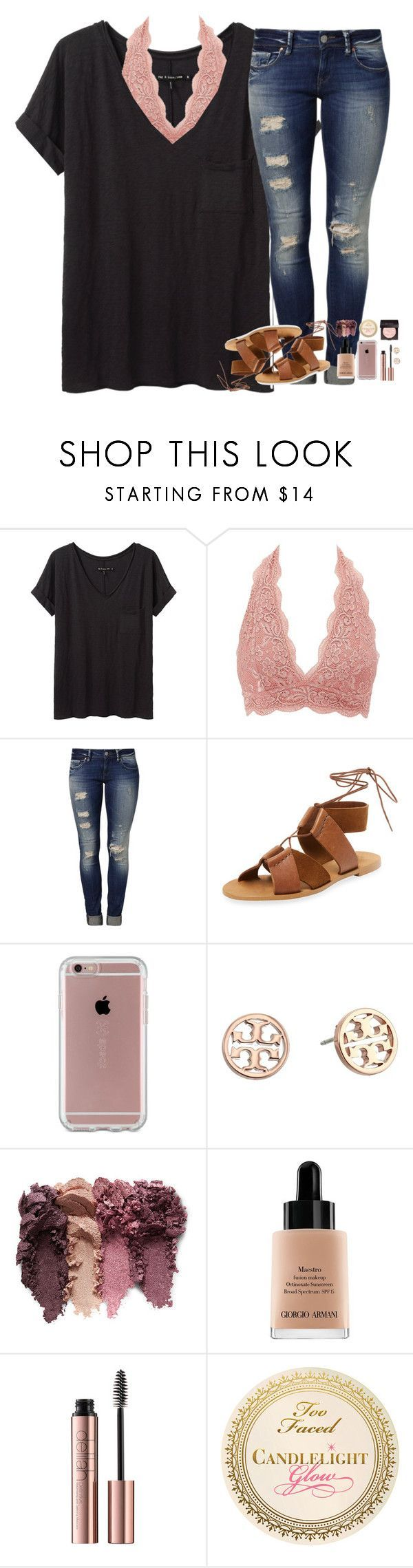 highlight be poppin ✨ by mehanahan ❤ liked on Polyvore featuring rag & bone/JEAN, Charlotte Russe, Mavi, Firth, Speck, Tory Burch, Giorgio Armani and Laura Mercier #schooloutfit