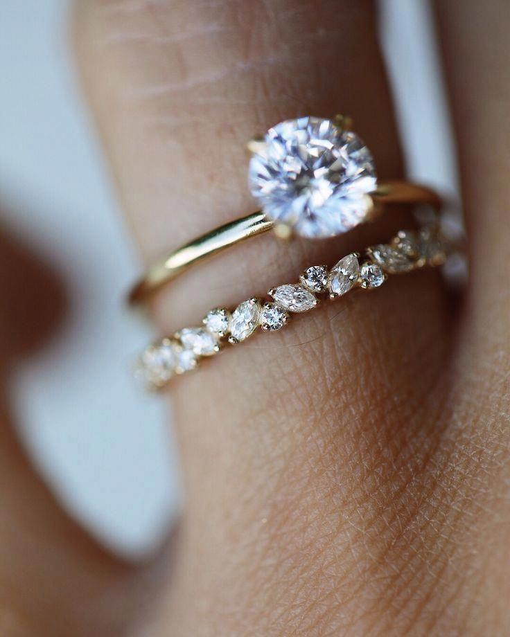Unique Diamond Wedding Band White Gold Engagement Ring Women